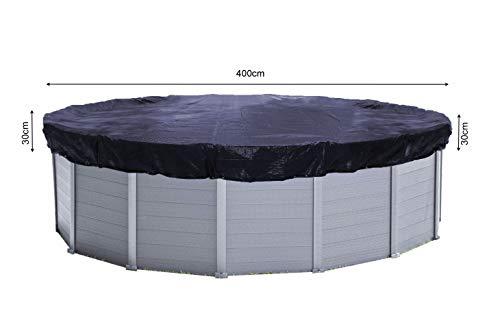 QUICK STAR Solarplane Pool Rund Ø 460cm für Pools 366-400 cm Winterabdeckplane Poolabdeckung 200g/m² Schwarz