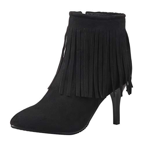 Kurze Stiefel Damen Plüsch Quasten Pumps Elegant Party Stiefeletten Seitlicher Reißverschluss Knöchel Stiefel Wildleder Boots Casual High Heels ABsoar -