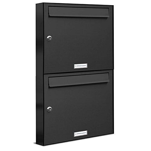 AL Briefkastensysteme 2er Briefkastenanlage Anthrazit Grau RAL 7016, Premium Briefkasten DIN A4, 2 Fach Postkasten modern Aufputz