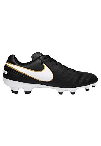 Nike Herren Tiempo Genio Il Leather FG Fußballschuhe, Grau, UK schwarz - weiß - gold
