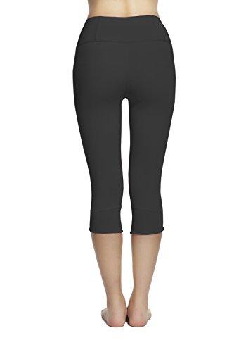 Lotus Instyle Elegante Donne Capri Yoga Leggings Calzamaglia per ragazze nero