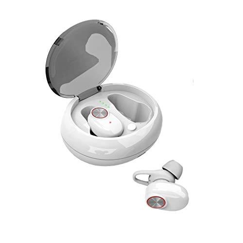 XUNMAIF BTE luetooth Kopfhörer,Drahtloses Binaurales Mini Stereo Headset mit Integriertem Mikrofon und Tragbarer Ladetasche,CVC 6.0-Rauschunterdrückung Kompatibel mit iOS/Android, White