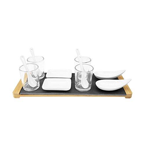 13-teiliges Vorspeisen SET - inkl. Schiefer Tablett, 4 Gläsern mit Löffeln, 2 Schalen, 2 Platten - Menge wählbar, Stückzahl:8 Stück
