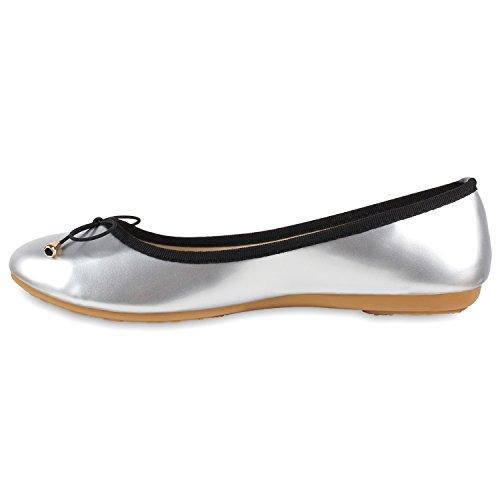 Damen Ballerinas Zierperlen Strass Flats Schuhe Lederoptik Silber Lack
