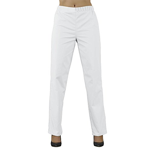 Label blouse Pantalon médical Mixte Homme Femme Sergé 210 gramme Couleurs Blanc Tailles élastiquée Lavage Machine 90 degrés ou industriel T0-36