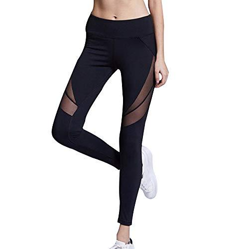 f363a41bd MEIbax Leggings Deportes Pantalones para mujeres color sólido de Sexy Hueco  de Moda Empalme Skinny Casual