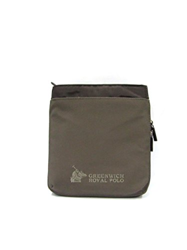 GREENWICH ROYAL POLO - BORSA TRACOLLA UOMO IN NYLON/GOMMINA COL.TESTA DI MORO/TAUPE art.PG16W-123-03 B