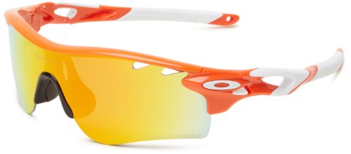 Oakley Herren Sonnenbrille Radarlock, blood orange/fire iridium polarized vented & persimmon vented path, OO9181-08
