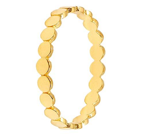 Pernille Corydon Damen Ring Eon Gold kleine runde Plättchen hochglänzend Bandring Silber 925 vergoldet Größe 55 - PCO-R215g-55