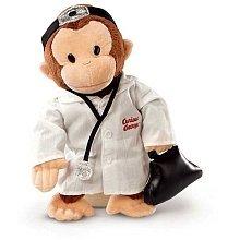 Curious George als Doktor (Coco der neugierige Affe) ca. 30cm gross - Plüschtier, Stofftier - aus USA - Der Spielzeug George Affe