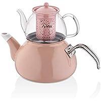 Neva Sweet Hochwertiger Pfeifkessel 2.2 Liter Edelstahl 18//10 Chocolate Rose Wasserkessel Induktion N2481 Filter im Teekessel Sp/ülmaschinengeeignet Teekocher