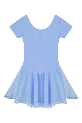 Ceanfly Mädchen Kinder Ballett Tutu Tütü Balletkleid Kindertanzkostüme Trikots Tanz Leotards Kleider, Type3-Blau, Gr. 140(7-8Y)