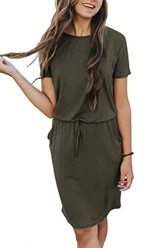 Yidarton Damen Sommer Kleid Kurzarm Blumendruck Patchwork Casual Plissee Midikleid mit Taschen, Armeegrün4, S -