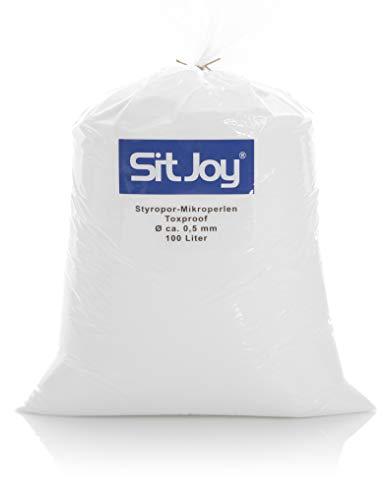 Sitjoy Sitzsack-Füllung | Styropor-Mikro-Perlen schadstoffgeprüft [Ø ca. 0,5 mm] | 100 Liter | Nachfüllbeutel - Füllmaterial für Sitzsäcke und Stillkissen