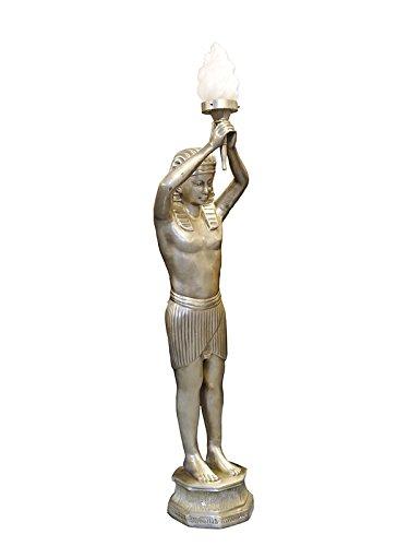 Lampe Stehleuchte Standleuchte Pharao mit einer Fackelleuchte in silber (5855)