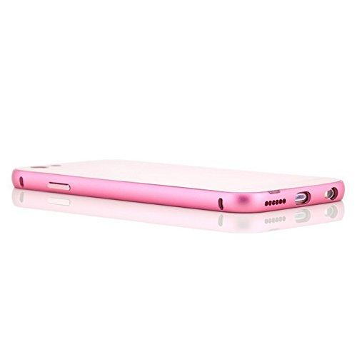 Coque aluminium + Verre Trempé iPhone 6 6S [Saxonia] Métal Housse Bumper rigide Case | Housse Etui Protection Verre Acrylique Verso Rose Rose