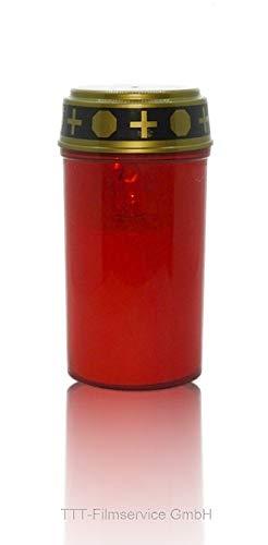 Cardiocell LED-Grablicht rot mit Batterie | LED-Grabkerze mit naturgetreuem Flackereffekt | Grablichtkerze ist Wind- und Wetterfest | Hochwertige Grablichter (1x LED-Grablicht rot mit Batterie)
