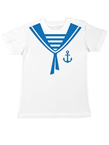clothinx Kinder T-Shirt Karneval Matrose Weiß/Blau Größe 116