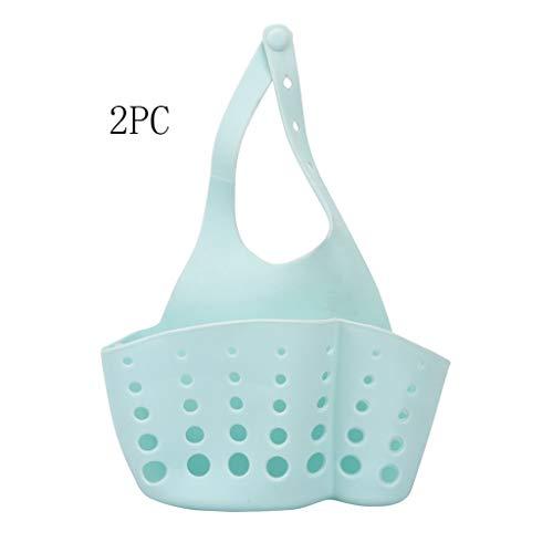 Yncc 2 STÜCK Tragbare Home Küche Hängen Abflussbeutel Korb Bad Lagerung Werkzeuge Waschbecken Einstellbare Aufsteckspüle Aufhängekorb Spüle Aufbewahrungstasche Küchenschwamm Rack Wasserhahn (BU) (Einstellbar Tuch Rack)