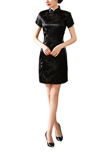 ACVIP Damen Kurzärmelige Cheongsam Qipao Mini Abendkleid Pflaumenblüte Drucken Schwarz (34—TagM) (Schwarze Brokat-kleid)