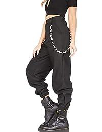 Mujer Pantalones Cargo Casual Hip-Hop Jogger Pantalones con Cadena para c5f1420d287