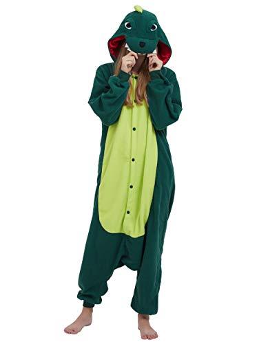 Jumpsuit Onesie Tier Karton Kigurumi Fasching Halloween Kostüm Lounge Sleepsuit Cosplay Overall Pyjama Schlafanzug Erwachsene Unisex Grün Dinosaurier for Höhe 140-187CM