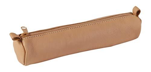 5 Kleine Leder (Clairefontaine 8303C Schlampermäppchen (aus echtem Leder, Ø3,5 x 18cm) 1 Stück natur)