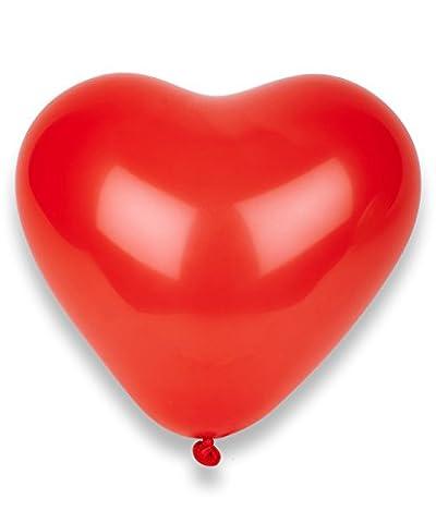 50 Ballons coeurs rouges 32 cm