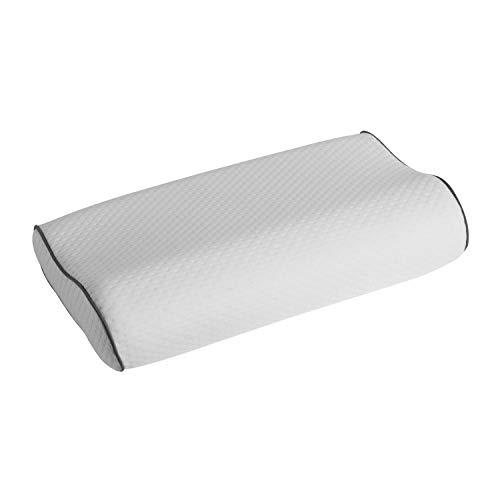 ABAKUHAUS Contour Kissen, Memory Foam Schaum Konturiertes Design Ideal für Nackenkurve somit Seitenschläfer Geeignet Gesunde Natürliche Wirbelsäulenausrichtung, 37 cm X 58 cm X 14 cm, White -