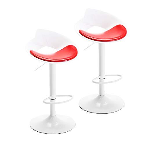 CYLQ Barhocker Drehen, 2 Stück Küche Frühstück Bar Stuhl, Einstellbar Heben PU Ledersessel Verchromte Fußstütze Zähler Höhe, 4 Farben 57-77cm (Farbe : Rot) - 4 Zähler Höhe Stühle