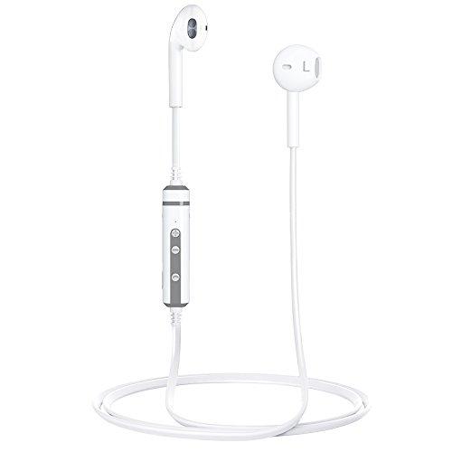 Bluetooth Kopfhörer In-Ear Kabellos Ohrhörer, Wireless Sport Kopfhörer Fitness Wireless Ohrhörer 4.1 Stereo mit Mikrofon in Ear Ohrhörer Bluetooth für Android Samsung Huawei Tablets (Weiß)