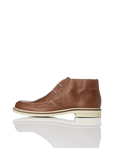 FIND Lace-Up Leather Stich, Stivali Chukka Uomo Marrone (Camel)