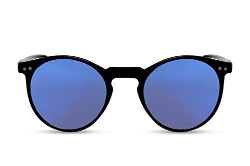 Cheapass Sonnenbrille Schwarz Rund Verspiegelt Nerd Retro Unisex