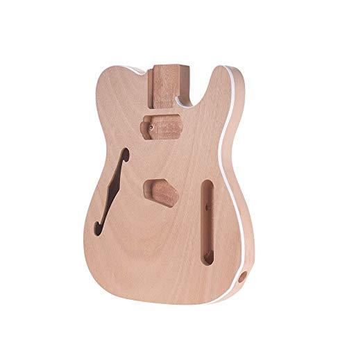 Muslady Guitar Body Unvollendet Elektrische Gitarre Karosserie Leer Fass DIY Mahagoni Holzkörper Gitarrenteile Zubehör für TELE F Gitarre TL-F - Mahagoni-fass