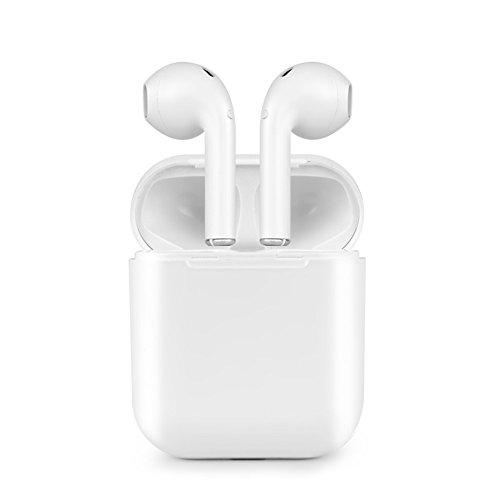 Zsjijia Auricolare Bluetooth, Auricolare Stereo Auricolare Wireless Auricolare Bluetooth Senza Fili con Custodia e Microfono per Apple iPhone 7 7 Plus 6s 6s, iPad, Samsung Smartphone