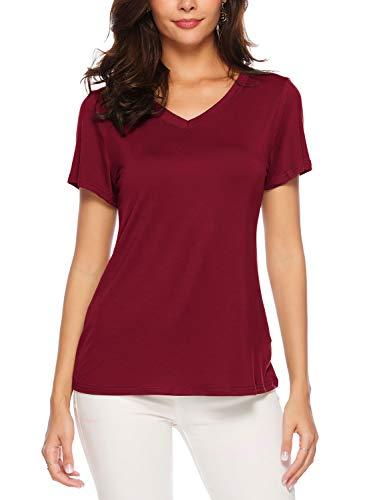 AMORETU Tuniken T-Shirt Damen Sommer Casual Bluse Tops Baumwolle Kurzarm Oberteil, M/DE 38, Burgund