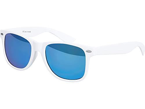 Balinco Hochwertige Nerd Sonnenbrille Rubber im Wayfarer Stil Retro Vintage Unisex Brille mit Federscharnier - 96 verschiedene Farben/Modelle wählbar (Weiß - Blau verspiegelt)