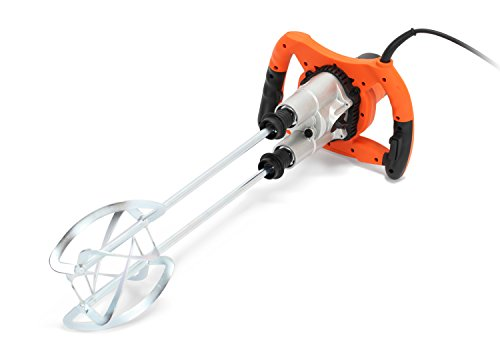 This plaster mixer stands out of the crowd due to its twin paddle and larger paddle. The implication is that it mixes better and more efficiently than single-paddle models. The 900rpm motor is incredibly powerful and the maximum mixing capacity is decent as well. This model makes a great choice for professional uses, thanks to the 2-speed control too. It comes at a decent price and we think you should give it a go for day to day plastering projects.