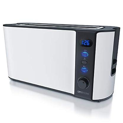 Arendo-Toaster-Langschlitz-2-Scheiben-Defrost-Funktion-1000W-Doppelwandgehuse-Integrierter-Brtchenaufsatz-Brunungsgrade-1-6-Display-mit-Restzeitanzeige-Edelstahl-wei