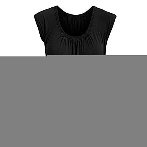 Linkay T Shirt Damen Kurz Bluse Tops Lässiger Rundhals Oberteile Mode 2019 (Schwarz, Large) - Mm Kurze Ärmel Stricken