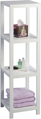 HomeTrends4You 402326 Regal / Badezimmerregal Geno, MDF weiß matt lackiert, 32x114x32 cm