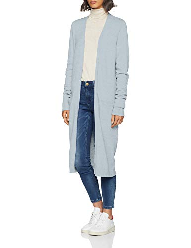 Vila Clothes Damen Strickjacke VIRIL L/S Open Knit Cardigan-NOOS, Blau (Celestial Blue Detail: Melange), 34 (Herstellergröße: XS)