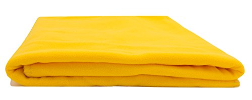 ZOLLNER® Manta para sofá / manta para sillón y butaca / manta de forro polar, 130x170 cm, color amarillo, disponible en varios colores, 100% poliéster, del especialista textil, serie 'Ambiente'