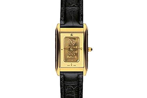 Charmex Unisex Gold Ingot Homme & Femme Noir Cuir Bracelet Montre 1560