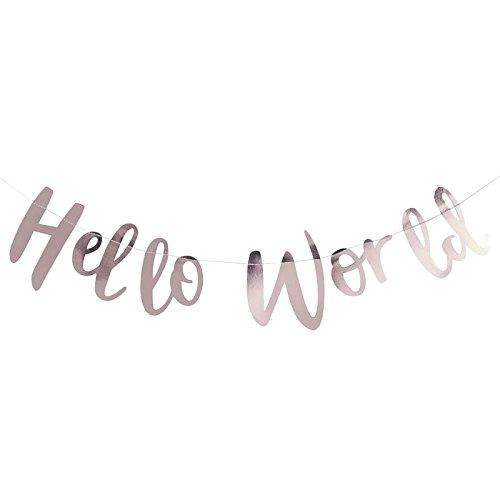 Roségold Girlande Schriftzug Hello World 2m