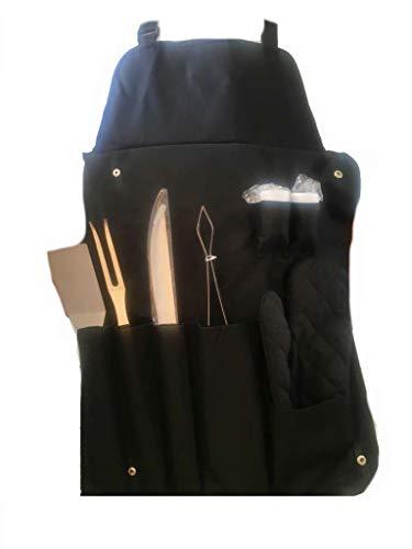 GRILLSCHÜRZE 8 teilig mit Grillbesteck, sehr edel, super Geschenk. Beste Qualität!!! BBQ Besteck Set Grillset aus Grillzange, Schaber, Fleischgabel, Grillhandschuh sowie Salz- und Pfeffer