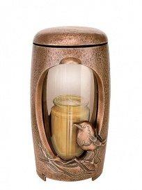serafinum Bronze Lanterne Funéraire avec oiseau – Amata, marron clair, 22x12x12cm (HxBxT)