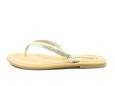 Tamaris Schuhe 1-1-27115-38 bequeme Damen Zehentrenner, Sandalen, Sandaletten, Sommerschuhe für modebewusste Frau, metallic (SILVER METALL.), EU