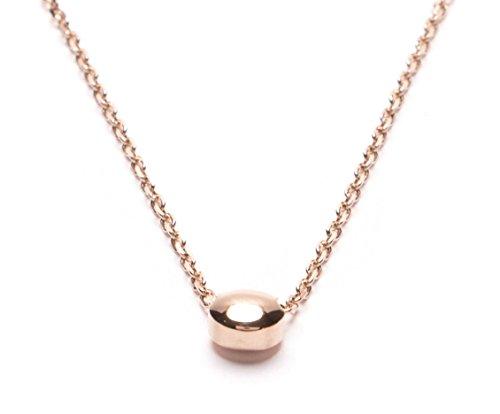 Happiness Boutique Damen Filigrane Kette mit Metallkugel Anhänger in Rose Gold | Minimalist Kette aus Edelstahl