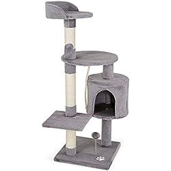 dibea Arbre à chat avec Griffoir et Centre d'Activités - 67 x 55 x 112 cm - Gris clair